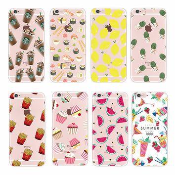 Food Fruit Pineapple Lemon Banana Cactus Strawberry Sushi Phone Case Cover For Apple iPhone 4 5 6 7 S Plus SE 5C