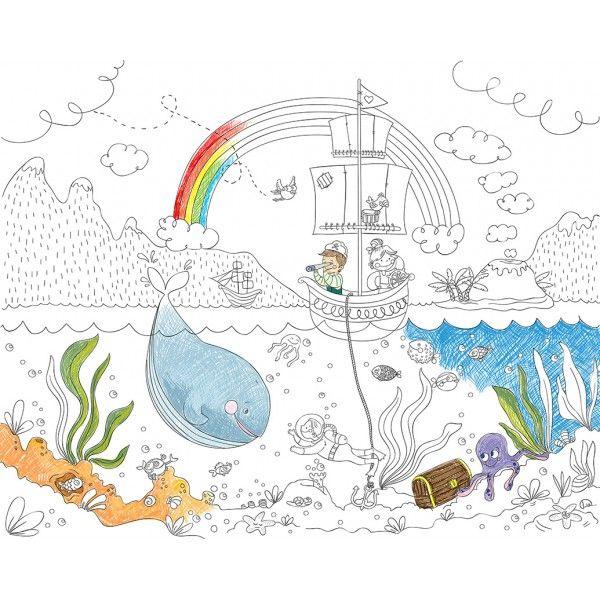 Pentru copii: Fototapet de colorat. Cine a spus că nu este voie să scrii pe pereți? Copilul tău poate acum să-și coloreze camera după propria imaginație, cu acest fototapet creativ. Poate fi desenat cu orice tip de creioane colorate.