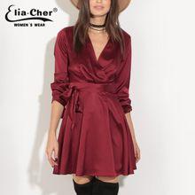 Sonbahar Kadınlar Yeni Seksi Dokuma V Yaka Tam Kollu Elbise Elia Cher kadın Artı Boyutu Giyim Saten Wrap Elbiseler vestidos 8616(China (Mainland))