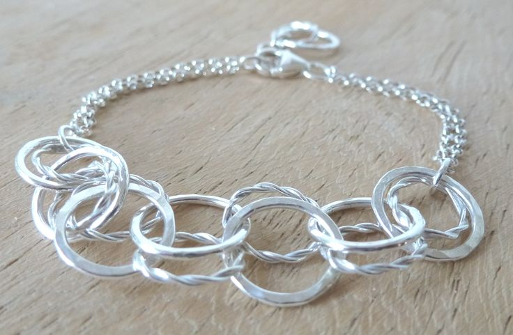 chain bracelet with battered and twisted wire detail