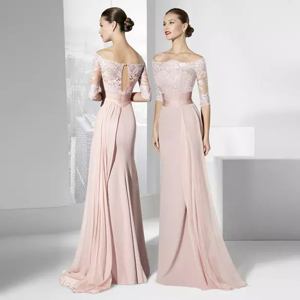 0886f71248ea Blush Pink Bridesmaid Dresses Cheap Off Shoulder Half Sleeves Lace Chiffon  Long Floor Formal Occasion Gowns Bridesmaids Wedding Party Gowns