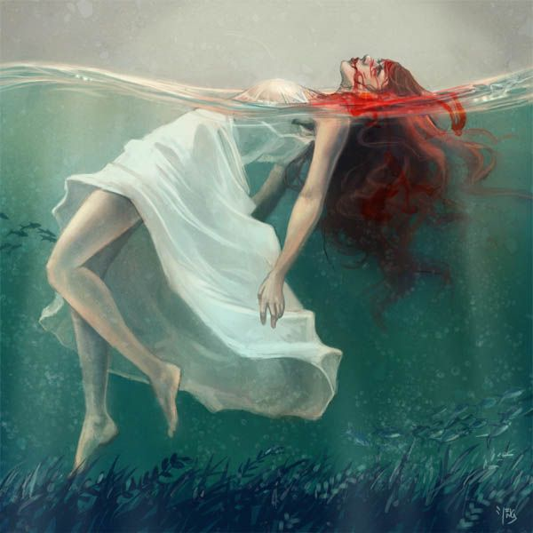 blood in the waterInspiration, Death, Beautiful, Digital Art, Sea, Dark Art, The Little Mermaid, Redheads, Art Painting