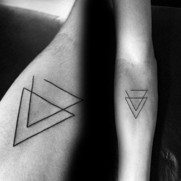 Double Triangle Minimalist Small Male Tattoos