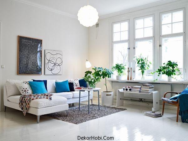 Beyaz Zeminler İle İskandinav Oturma Odası İskandinav Tarzı Oturma Odası Tasarımları