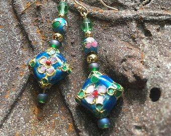 Vintage Style Earrings, Cloisonné style Earrings, Turquoise Blue Jewelry, Wedding Jewelry, Bride Something Blue, Mother Jewelry on Etsy