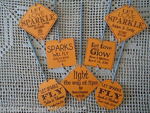 Kraft-Orange-Wedding-Favour-Gift-Tags-Sparklers-Bomboniere-PERSONALISED-Vintage