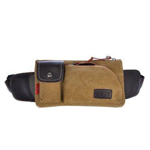 Leisure Splicing and Magnetic Closure Design Messenger Bag For Men - KHAKI