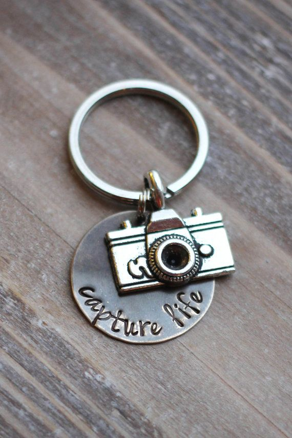 Camera Key Chain - Hand Stamped Capture Life Photographer Key Chain - Vintage Brass - Christmas Gift