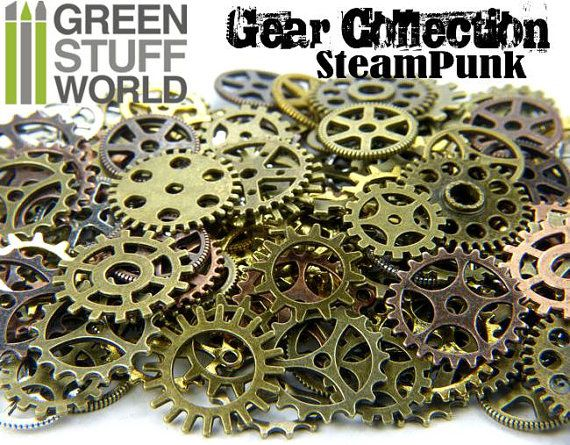 Set 85gr. - COGS and GEARS Steampunk 40-50 pieces - sizes 1'5-2'5cm - Big Variety Beads Mix