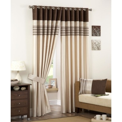 Carlton Ready Made Curtains Natural    •Contemporary eyelet heading  •Fully lined curtains  •Modern striped design  •Matching tie backs available  •Matching filled cushions available