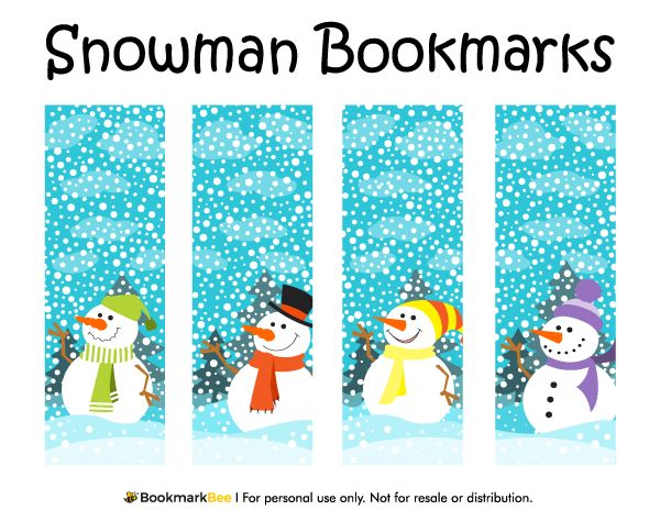 Free printable snowman bookmarks featuring cute snowmen wearing clothing on a snowy background. Download the PDF template at http://bookmarkbee.com/bookmark/snowman/