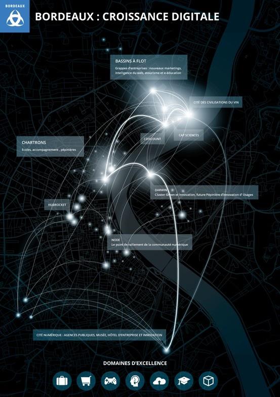 La #Ville de #Bordeaux connaît une forte #croissance sur son #territoire dans le domaine du #digital. 10h11 réalise une #datavisualisation #print pour présenter ces pôles de développement économique. #infographic #data #datavizualisation #paris