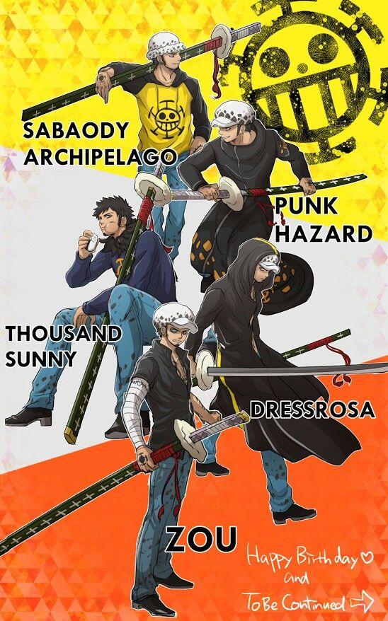 Trafalgar D. Water Law in Sabaody Archipelago, Punk Hazard, Thousand Sunny, Dressrosa, and Zou One piece