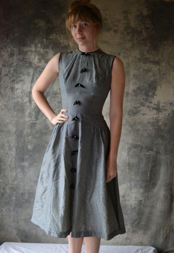 1950s Grey Striped Cocktail Dress w/Rhinestones on Etsy, $145.00