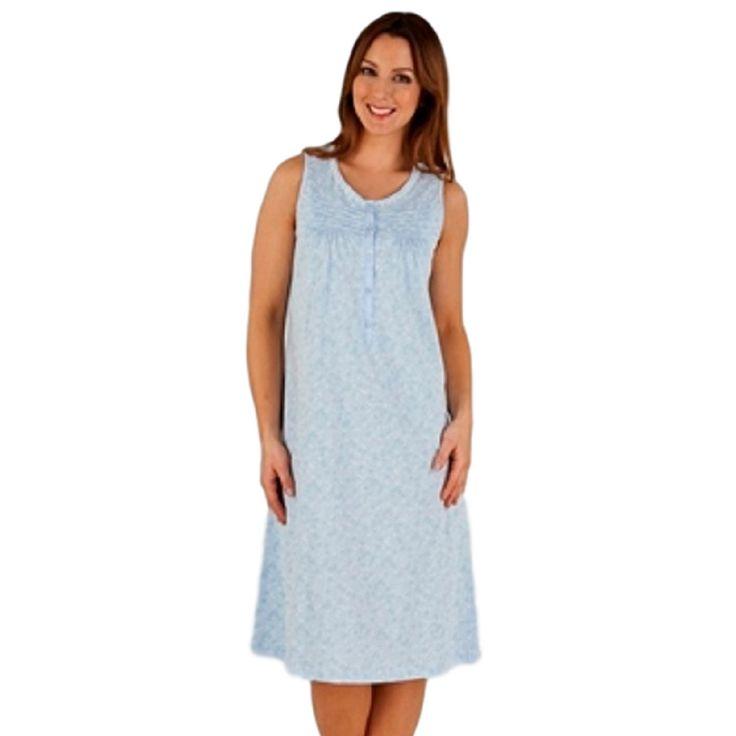 Slenderella 100%  Cotton Jersey Daisy Print Sleeveless Nightdress - Blue or Pink