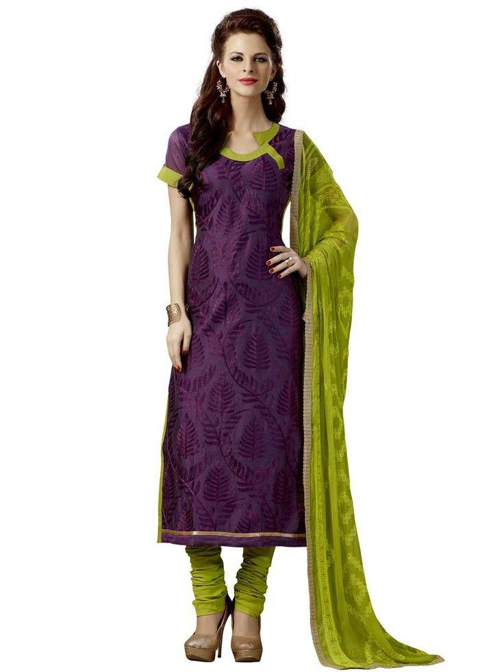 Enticing violet color chanderi silk kameez is garnished with resham work. Item Code : SLHD74019 www.bharatplaza.com/new-arrivals/salwar-kameez.html