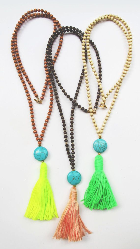 Long Wooden Beaded Tassel Necklace Round Circular by MallyClaire, $30.00