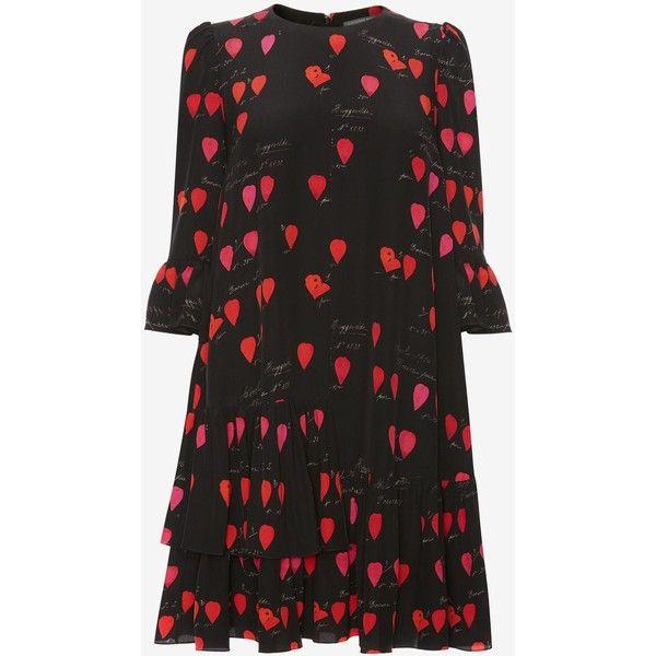 Alexander McQueen Petal Print Oversized Mini Dress (6.945 BRL) ❤ liked on Polyvore featuring dresses, multicolour, silk mini dress, three quarter sleeve dress, short dresses, 3/4 sleeve dresses and multi coloured dress