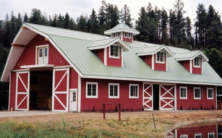 RED BARN WITH GRAY METAL ROOF AND WHITE WINDOWS.  //.abcmetalroofing.com/imagesFLA/PF_IMG02 L | Barn Homes | Pinterest | Metal  Roof Red Barns .