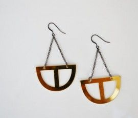 Hera Earrings - Gold Plated - Brass- Fishbone Design Jwls