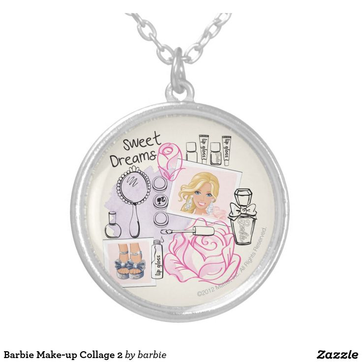 Barbie Make-up Collage 2 Round Pendant Necklace