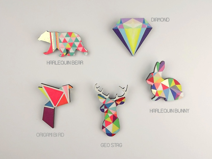Geometric Brooch Neon - Broches geométricos en color  neón