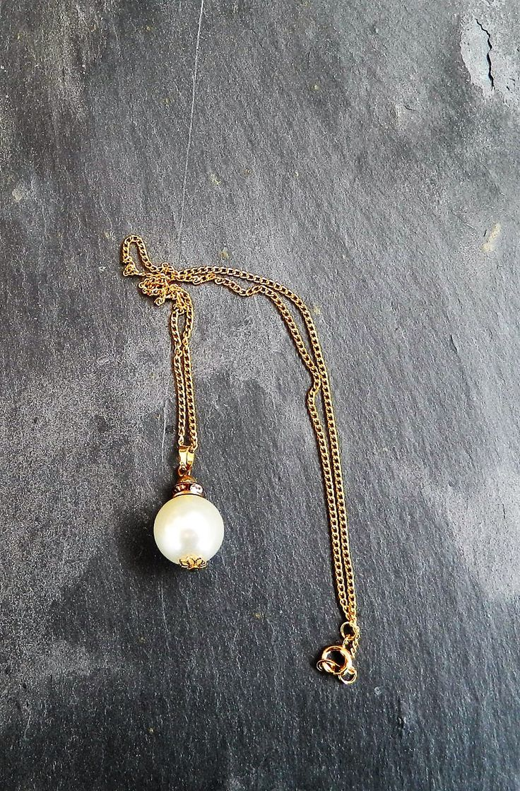 Pearl style necklace, gift for her, charm necklace for a wife, birthday gifts, jewelry, jewellery idea for a best friend, round ball shape, by AlsCraftyCorner on Etsy