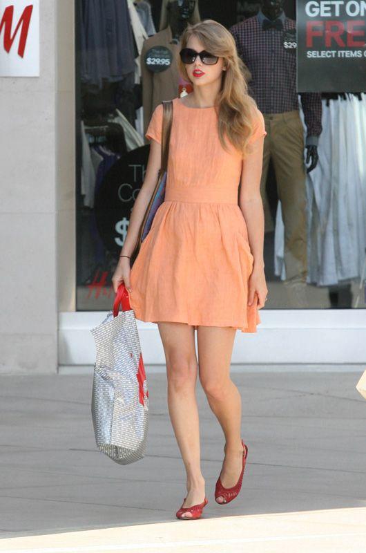 Taylor Swift's Orange Summer Cap Sleeve Dress.  Outfit details: http://wwtaylorw.com/397/