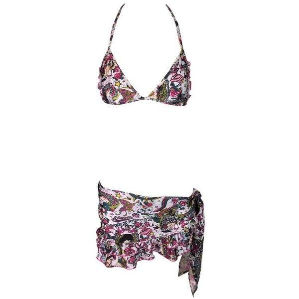 Preowned Nwt 2004 Christian Dior 'jadore' Tattoo Bikini & Sarong Set &... ($4,200) ❤ liked on Polyvore featuring swimwear, bikinis, grey, bikini sarong, bikini swim wear, swim bikini bottoms, bikini bottom swimwear and bikini bottom