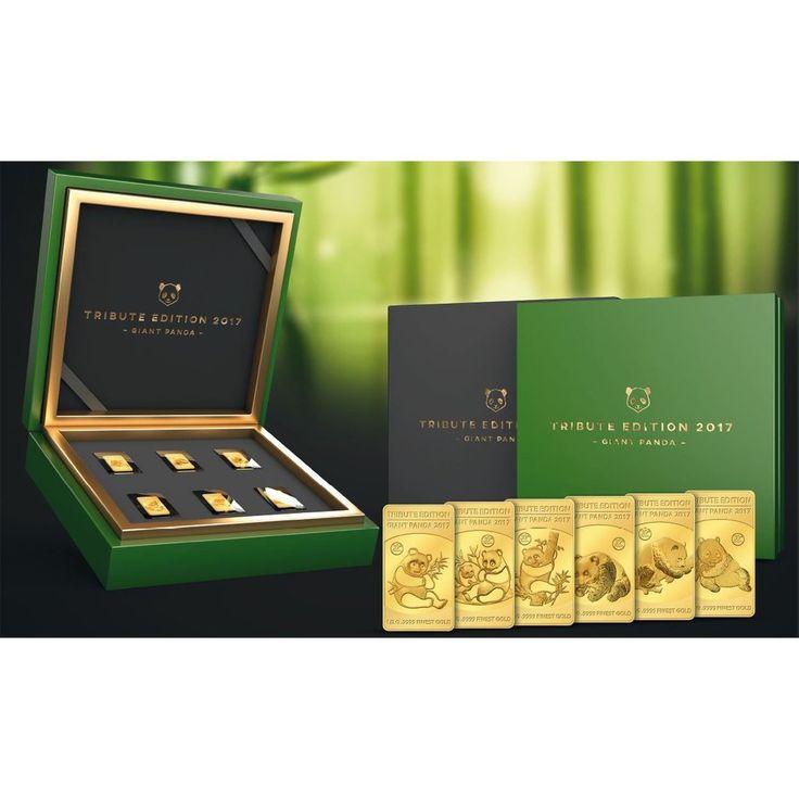 2017 Solomon Islands 6 X 1/2 Gram .9999 Gold Giant Tribute Panda Collection Set