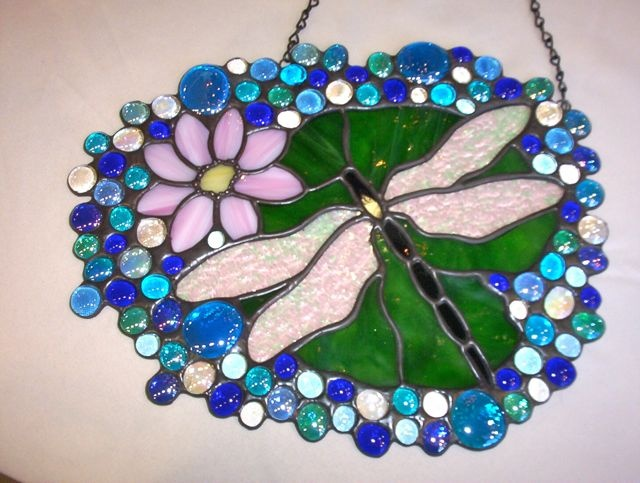 Dragonfly Stained Glass Panel - would make a neat bird bath too!