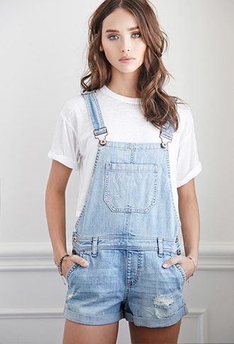 Distressed Denim Overall Shorts | Forever 21 - 2002247866                                                                                                                                                                                 More