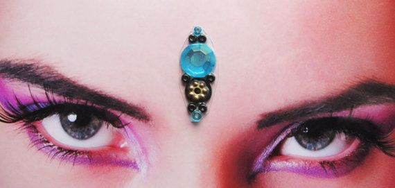 SOLD OUT Handmade blue bindi with black and gold beads for sale here https://www.etsy.com/listing/126708537/offering-bindi-tribal-fusion-buikdans?ref=shop_home_active  tribal fusion bellydance - inda - accessory - hindu - woman - third eye - jewelry - face decoration