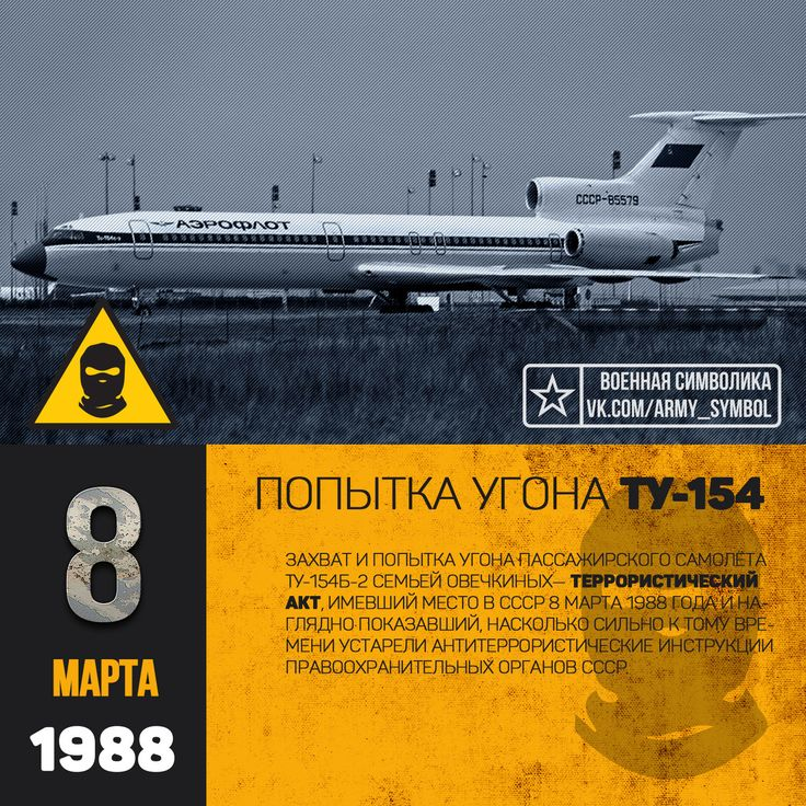 Попытка угона Ту-154 8 марта 1988 года Захват и попытка угона пассажирского самолёта Ту-154Б-2 — террористический акт, имевший место в СССР 8 марта 1988 года и наглядно показавший, насколько сильно к тому времени устарели антитеррористические инструкции правоохранительных органов СССР.  В 1988 году семья Овечкиных состояла из матери и 11 детей (отец Дмитрий Дмитриевич умер 3 мая 1984 года, через несколько дней после побоев, нанесённых старшими сыновьями). 7 сыновей входили в семейный…