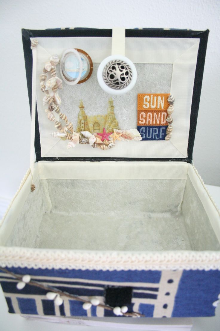 What a seaside escape if I ever saw one! This treasure box has the inside lid adorned with real sea shells and a tiny porthole at the very top. Too adorable...right?