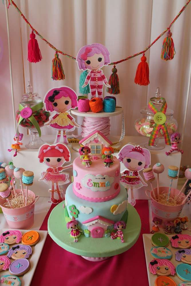 Incredible cake and cookies at a Lalaloopsy birthday party! See more party…