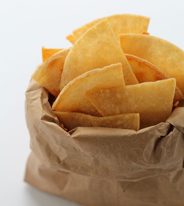 Baked Tortilla Chips | 10 Easy Homemade Recipes That Are Incredibly Delicious by Homemade Recipes at    http://homemaderecipes.com/10-easy-homemade-recipes/