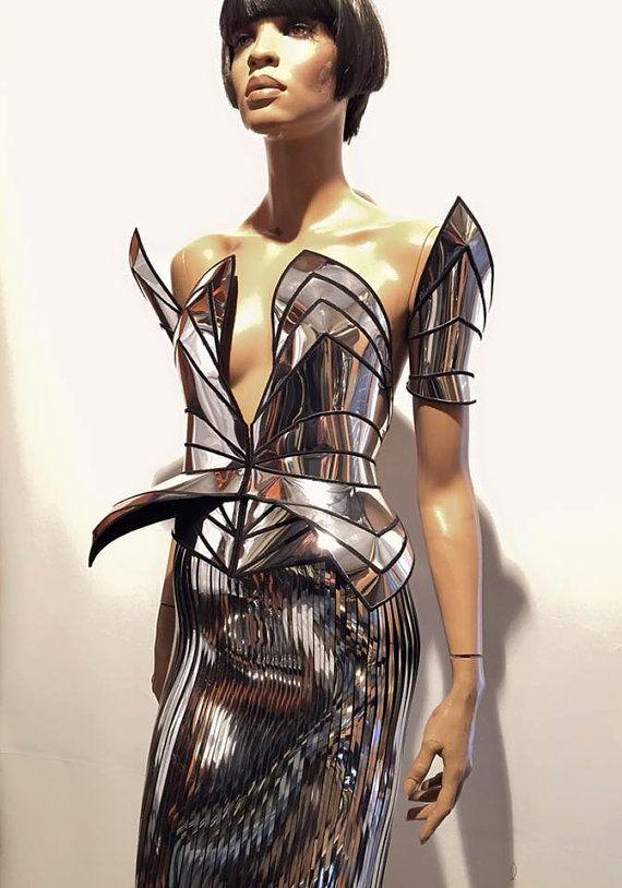 Chrome ridder korset robot futuristische cosplay korset, sci fi kostuum, lady gaga korset, burning man, steampunk, futuristische kleding