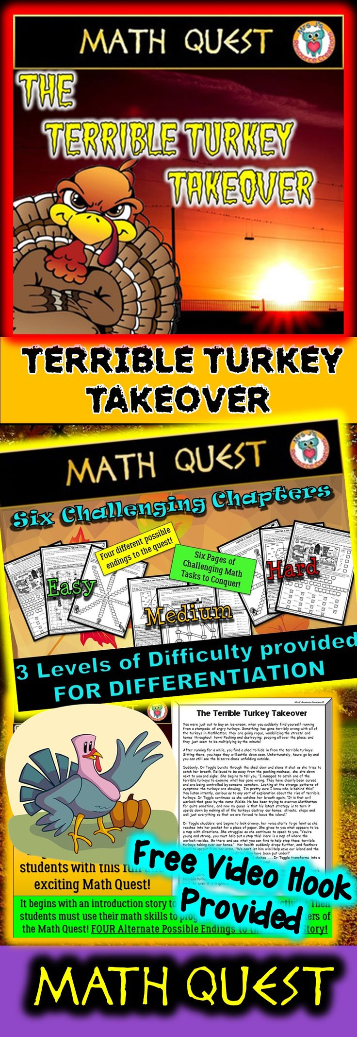 Send Your Students On An Epic Math Quest With This Exciting Story €�the  Terrible Turkey