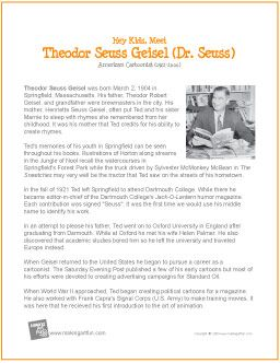theodor seuss geisels expertise dr seuss essay How to write a good college application essay  dr seuss has sold 600 million  books, so i figured there had to be something  springfield is where ted geisel  was born in 1904 and thought his formative  theodor seuss geisel  over the  past five years, a number of urban revitalization experts have.