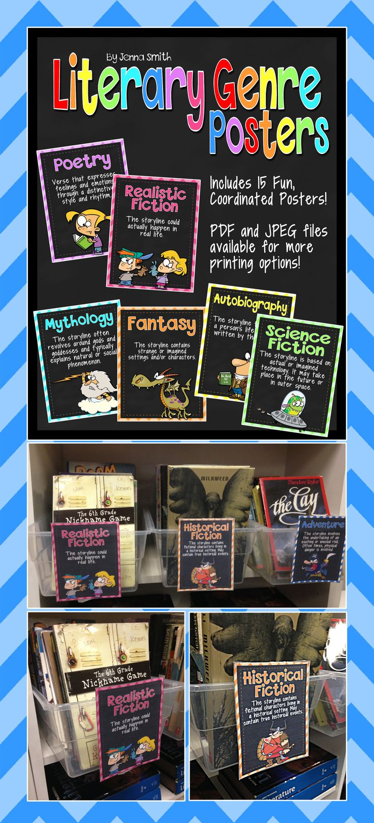 Use these Literary Genre Posters to make book bins for your classroom library!!