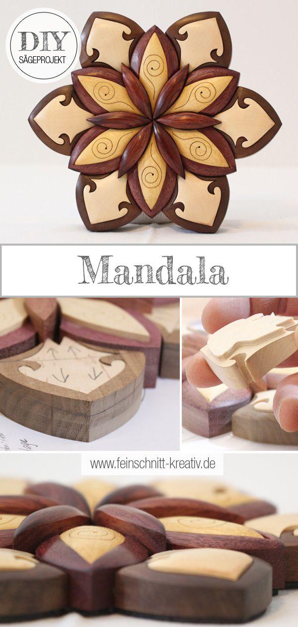 Mandala Intarsie In 2020 Diy Holzprojekte Kreativ Mandala Blumen