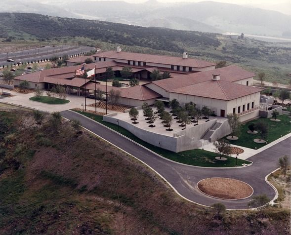 California: Aerial View of Ronald Reagan Library is in Simi Valley, California, about 40 miles northwest of Downtown Los Angeles and 15 miles west of Chatsworth.