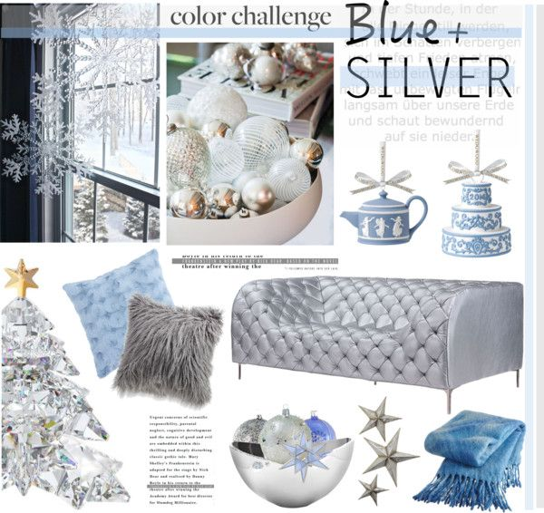 """""""Color Challenge: Blue and Silver"""" by helenevlacho ❤ liked on Polyvore"""