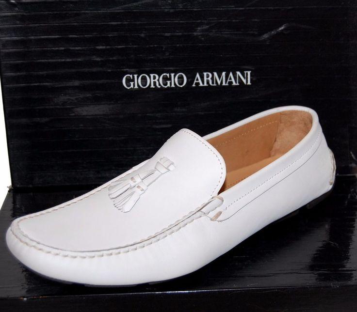 Giorgio Armani Men's White Loafer Leather Italy Shoes Sz Armani 11 US 12 NEW #GiorgioArmani #LoafersSlipOns