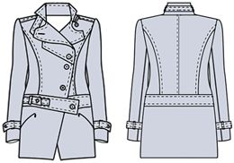 Examples of models cloaks, coats demi-developed on the basis of a program calculation Cutter