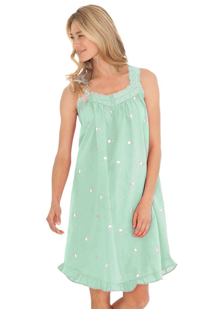 """Short embroidered gown is soft, sweet and made from soft cotton. We offer the best price and fit in plus size nightgowns.  full sweep and straight style for freedom of movement gown 40"""" long, grazes knee hirred yoke at sweetheart neckline for fullness sleeveless straps are supportive and comfortable rose embroidery pattern eyelet trim; ruffled shirttail hem washable cotton; imported pair with your favorite Comfortview slippers perfect with our robes  Women's plus size nightgowns & plus size…"""