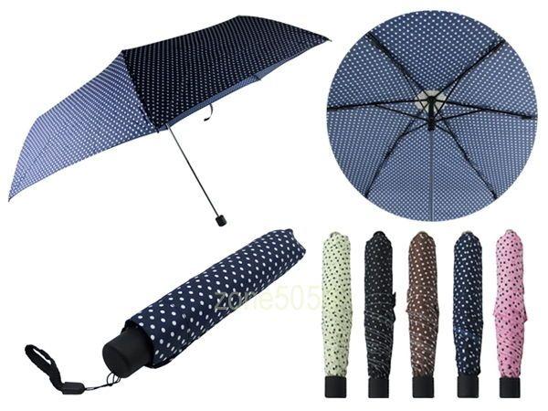 Polka Dots 33  Compact Umbrella 6 Rib UV Protective Slim 9  Folded