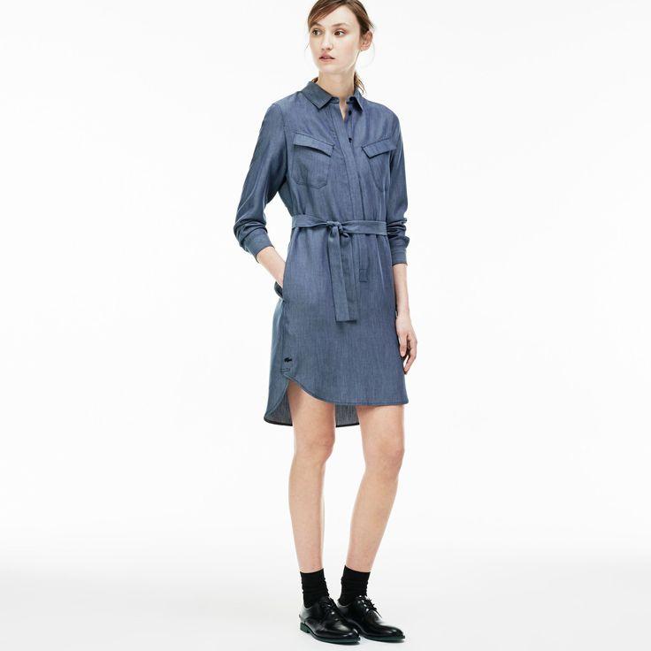 LACOSTE Women'S Denim Chest Pocket Twill Shirt Dress - Medium Blue Rinsemedium Blue Rinse. #lacoste #cloth #all