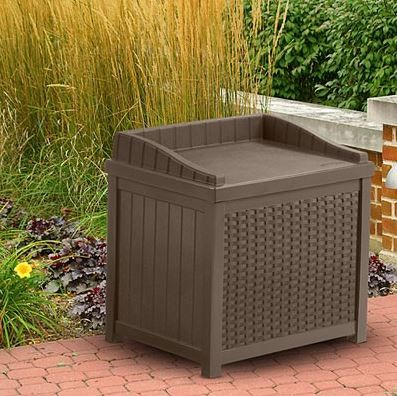 Superb Outdoor Storage Cube Seat. Attractive Mocha Single Seat, Small Table +  Storage Solution From